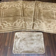 ROMANY WASHABLES GYPSY MATS 4PC SETS NON SLIP GERMAN BOARDER DESIGN BEIGE RUGS